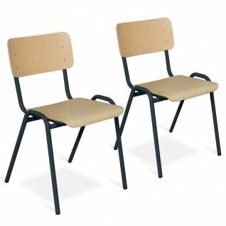 2-teiliges Stapelstuhl-Set, Gestell schwarz, Sitz/Lehne aus Buche-Schichtholz