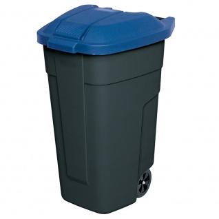 Wertstoffsammler, 100 Liter, Korpus anthrazit, Deckel blau, HxBxT 850x510x550 mm