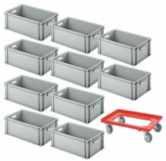 10 Eurobehälter, LxBxH 600x400x220 mm, grau + GRATIS 1 Transportroller