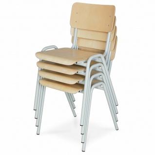 4-teiliges Stapelstuhl-Set, Gestell lichtgrau, Sitz/Lehne aus Buche-Schichtholz