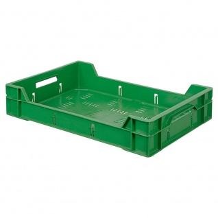 7 Eurobehälter / Gemüsekiste / Obststeige, LxBxH 600x400x120 mm, 12 Liter, grün