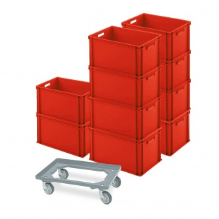 10 Eurobehälter 600x400x320 mm, rot + GRATIS Schwerlast-Transportroller