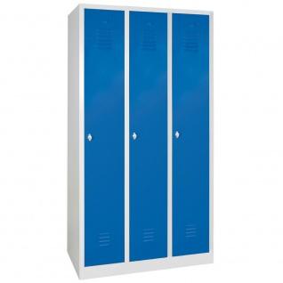 Kleiderspind m. Sockel, HxBxT 1800x900x500 mm, 3 Abteile á 300 mm, lichtgrau/blau