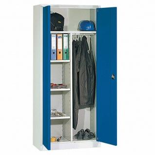 Spind/Universalschrank, BxTxH 925x420x1950 mm, Korpus lichtgrau/Türen enzianblau