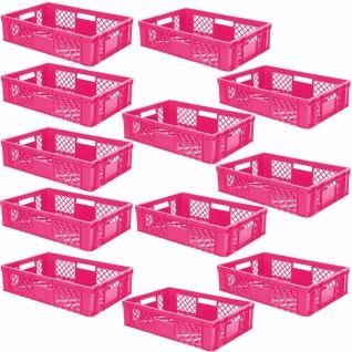12 Euroboxen / Bäckerkiste, LxBxH 600x400x150 mm, PE-HD, pink, lebensmittelecht