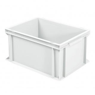 Stapelbehälter / Eurobox mit 2 Griffleisten, LxBxH 400 x 300 x 220 mm, weiß, Boden/Wände geschlossen