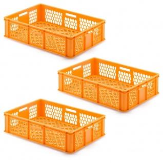 3 Transportbehälter für Backbleche, LxBxH 655x450x190 mm, orange, durchbrochen