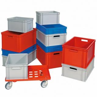 12 Eurobehälter/Stapelboxen 600x400 u. 400x300 mm, 4 Größen inkl Transportroller