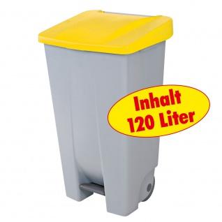 Tretabfalleimer mit Rollen, 120 Liter, HxBxT 880 x 510 x 430 mm, grau/gelb