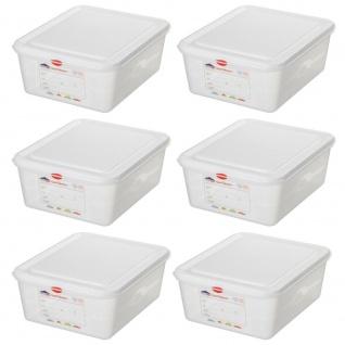 6x GN-Behälter / Gastronormbehälter, GN1/2, LxBxH 325 x 265 x 150 mm, 10 Liter