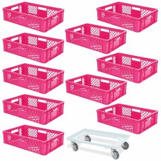 10 Euroboxen, 600x400x150 mm, lebensmittelecht, pink + GRATIS Transportroller