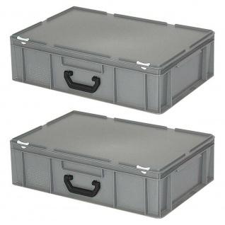 2 Aufbewahrungskoffer/Eurokoffer, LxBxH 600x400x180 mm, 33 Liter, grau, PE-HD