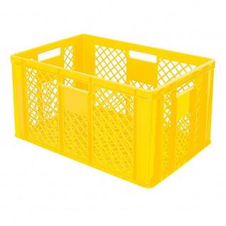 Stapelbehälter / Bäckerkiste mit 4 Durchfassgriffen, LxBxH 600 x 400 x 320 mm, gelb - Vorschau