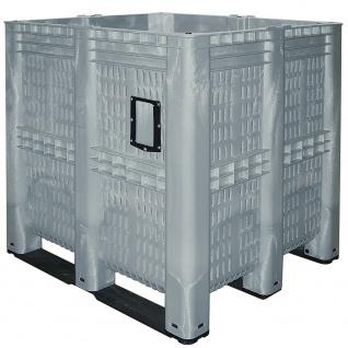 Volumenbox mit 3 Kufen, grau, Inhalt 1400 Liter, Wände und Boden durchbrochen