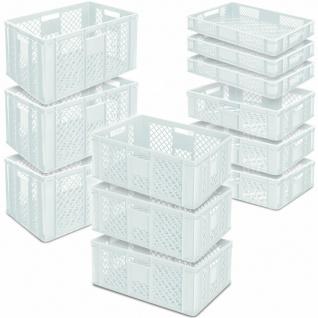 12 Euroboxen / Bäckerkisten, LxB 600x400 mm, H 90 mm/150 mm/240 mm/320 mm, weiß
