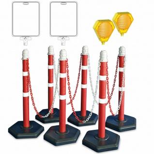 Absperrpfosten-Set, 6 Ständer, 10 m Kette, 2x Solar-Blinklampe, 2x Infotafeln