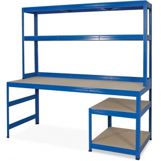 Packtisch / Werkbank mit Aufbau und Unterbau, BxTxH 1800x600/300x1800 mm, blau