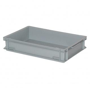 Stapelbehälter / Kunststoffkiste mit 2 Griffleisten, LxBxH 600 x 400 x 120 mm, grau, Boden/Wände geschlossen