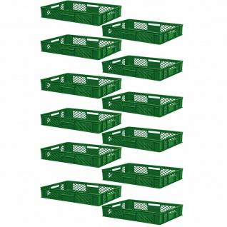 12 Euroboxen / Bäckerkiste, LxBxH 600x400x150 mm, PE-HD, grün, lebensmittelecht