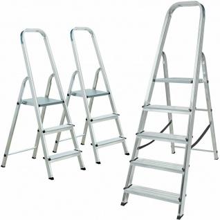 3 Alu-Bügelleitern, 2x Bügelleiter 3 Stufen + 1x Bügelleiter 5 Stufen, Spar-Set
