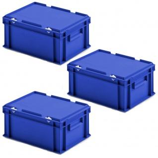 3 Deckelbehälter im Euroformat, LxBxH 400x300x185 mm, 16, 5 Liter, 1, 35 kg, blau