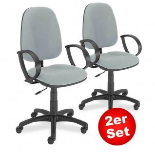 2x Drehstuhl Economy mit Armlehnen, extra hohe Rückenlehne 500 mm, Polster grau