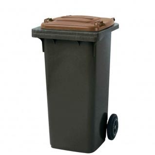 120 Liter MGB, Mülltonne Abfalltonne, grau mit braunem Deckel