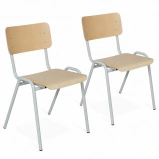 2-teiliges Stapelstuhl-Set, Gestell lichtgrau, Sitz/Lehne aus Buche-Schichtholz