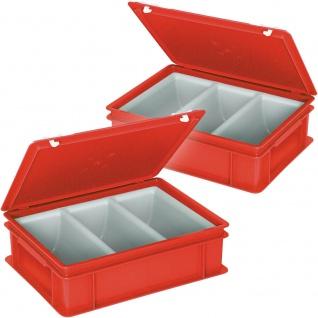 2x Besteckkasten / Besteckkoffer mit 3-Mulden-Einsatz, 400 x 300 x 130 mm, rot
