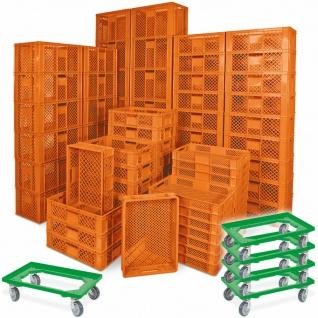 78 Bäckerkisten in 5 Größen, 600x400 mm, H 90 mm - 410 mm, orange + 5 Roller, grün