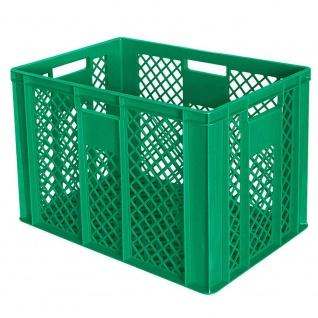 Stapelbehälter / Bäckerkiste mit 4 Durchfassgriffen, LxBxH 600 x 400 x 410 mm, grün