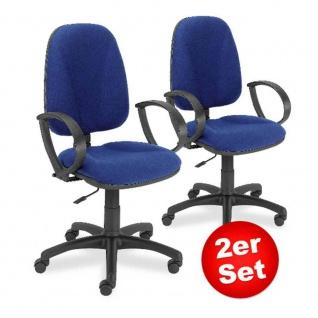2x Drehstuhl Economy mit Armlehnen, extra hohe Rückenlehne 500 mm, Polster blau