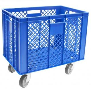 Korb mit 4 Lenkrollen, 83 Liter, 600x400x410/550 mm, Tragkraft ca. 120 kg, blau