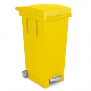 Treteimer mit Rollen, Inhalt 80 Liter, BxTxH 370 x 510 x 790 mm, gelb
