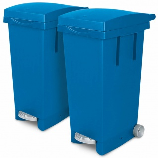 2x 80 Liter Abfallbehälter mit Rollen, 2x blau, Fußpedal, Deckel