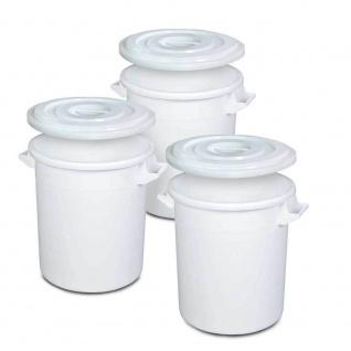 3x Kunststofftonne/Rundtonne 35 Liter mit Deckel, lebensmittelecht, PE-HD, weiß