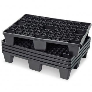 5x Kunststoffpalette im halben Euromaß, 800x600x140 mm, schwarz, durchbrochen