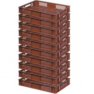 10 Bäckerkisten / Euroboxen, LxBxH 600 x 400 x 90 mm, lebensmittelecht, braun