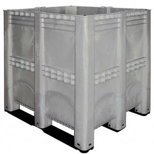 Volumenbox mit 3 Kufen, grau, Inhalt 1400 Liter, Boden/Wände geschlossen