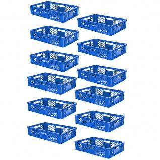 12 Euroboxen / Bäckerkisten, LxBxH 600x400x150 mm, PE-HD, blau, lebensmittelecht