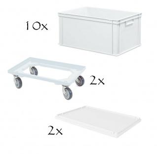 10 Boxen mit Griffleisten, LxBxH 600x400x320 mm, weiß + 2 Roller + 2 Stülpdeckel