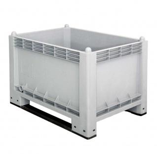 Palettenbox mit 2 Kufen, Wände/Boden geschlossen, LxBxH 1000 x 700 x 650, grau