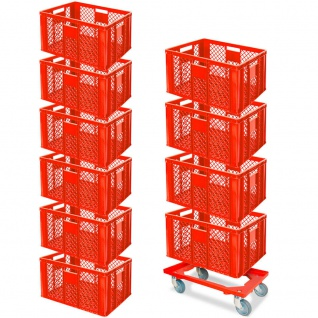 10 Euroboxen, LxBxH 600x400x320 mm, lebensmittelecht, rot + Transportroller