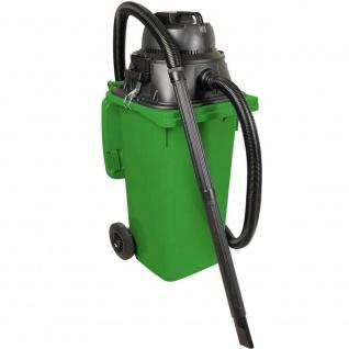 Nass- / Trockensauger / Industriesauger 1100 Watt, mit 120 Liter DIN Tonne grün