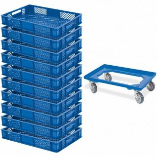 10x Euroboxen / Bäckerkiste, LxBxH 600x400x90 mm, blau + GRATIS Transportroller