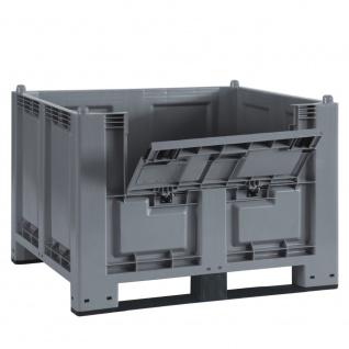 Palettenbox, 2 Kufen u. Kommissionierklappe, 1200 x 800 x 850 mm, grau