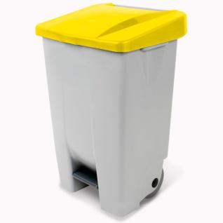 Tretabfalleimer mit Rollen, Inhalt 80 Liter, HxBxT 740x490x420 mm, Korpus grau, Deckel gelb
