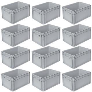 12 Eurobehälter mit 2 Griffleisten, LxBxH 400x300x220 mm, grau, 20 Liter