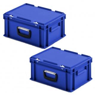 2 Kunststoffkoffer im Euroformat, 1 Tragegriff, LxBxH 400x300x185 mm, blau