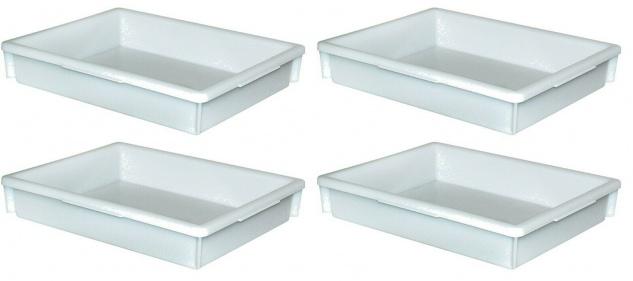 4 Lebensmittelwannen, Inhalt 10 Liter, LxBxH 460 x 360 x 85 mm, weiß, PE-HD
